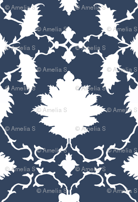 Paradise Chinoiserie Damask in Classic Navy