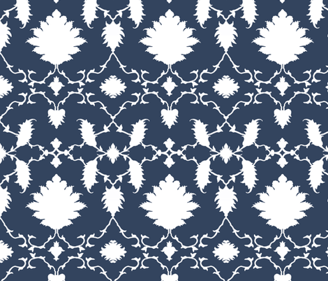 Paradise Chinoiserie Damask in Classic Navy fabric by sparrowsong on Spoonflower - custom fabric