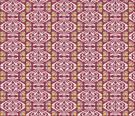 NOUVEAU_FLOWER_BURGUNDY fabric by natasha_k_ on Spoonflower - custom fabric
