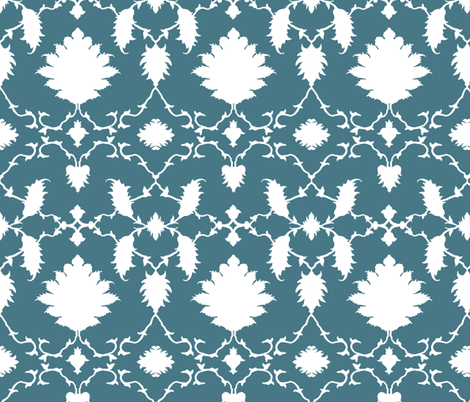 Paradise in Peacock Teal fabric by sparrowsong on Spoonflower - custom fabric