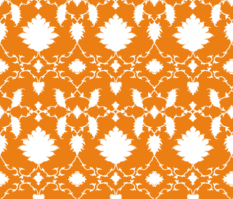 Paradise Chinoiserie Damask in Tangerine fabric by sparrowsong on Spoonflower - custom fabric