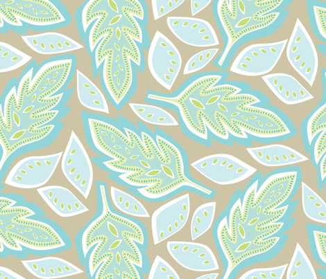 Big Leaves Sand fabric by jillbyers on Spoonflower - custom fabric