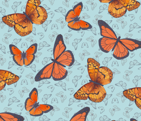 Butterflies for Joy - blue fabric by victorialasher on Spoonflower - custom fabric