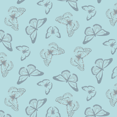 Butterflies for Joy - sketchy background - blue fabric by victorialasher on Spoonflower - custom fabric