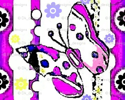 Butterflies and dots in purple 002