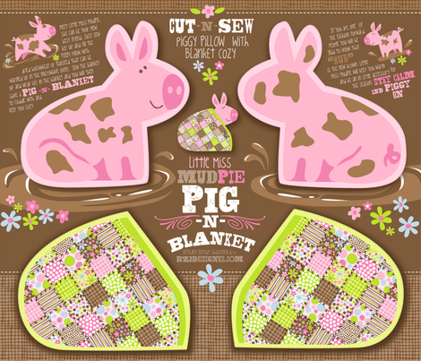 LITTLE MISS MUDPIE - PIG N BLANKET fabric by bzbdesigner on Spoonflower - custom fabric