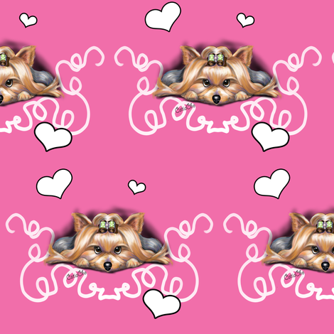 Yorkie Piccolo Pink fabric by catiacho on Spoonflower - custom fabric