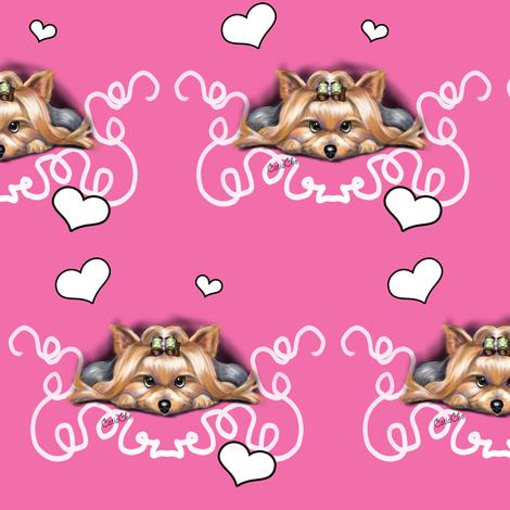 Yorkie Piccolo Pink fabric by catiacho on Spoonflower - custom fabric