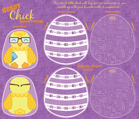 Nerdy Chick Pillow &amp; Cover fabric by robyriker on Spoonflower - custom fabric