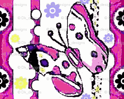 Butterflies and dots in purple 003