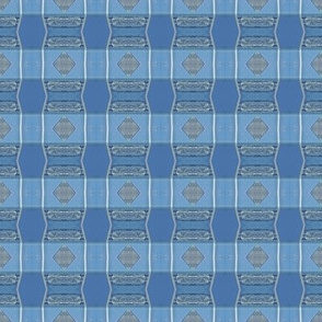 Blue silver plaid