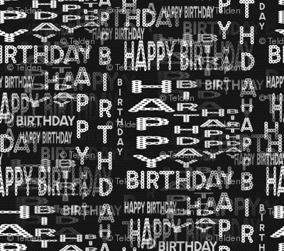 Happy Birthday Marquee Words - Black and White