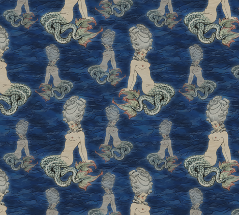 The little Rococo mermaid fabric by bonnie_phantasm on Spoonflower - custom fabric