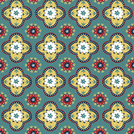 Silk Road - Teal fabric by elephantandrose on Spoonflower - custom fabric