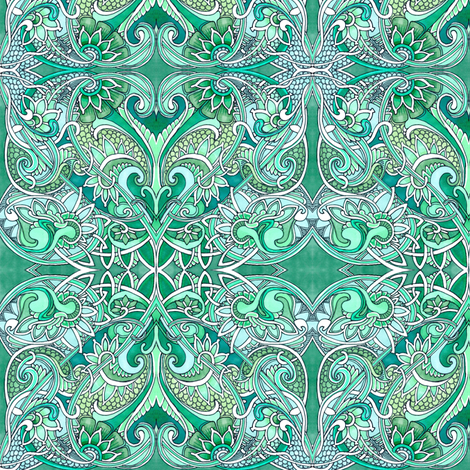 Emerald Paisley Romance in Hearts and Dragon Hide fabric by edsel2084 on Spoonflower - custom fabric