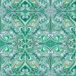 Emerald Paisley Romance in Hearts and Dragon Hide