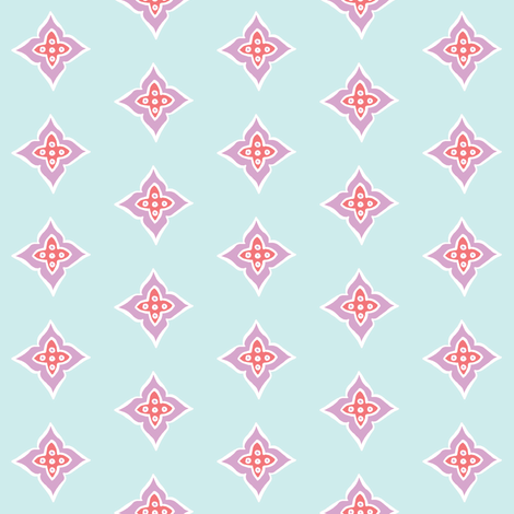 Turkish Tile (salmon, lt. aqua + lavender) fabric by pattyryboltdesigns on Spoonflower - custom fabric
