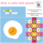 Kawaii Fried Egg Coin Purse - Cut & Sew Pattern