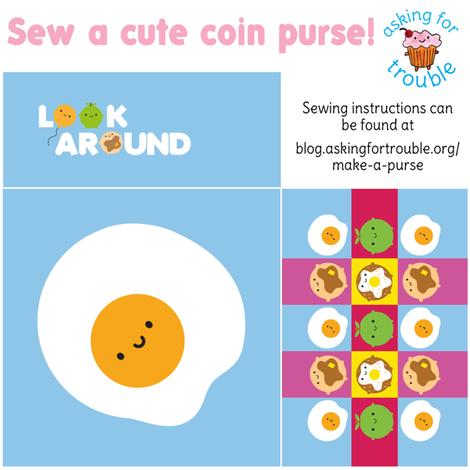 Kawaii Fried Egg Coin Purse - Cut & Sew Pattern