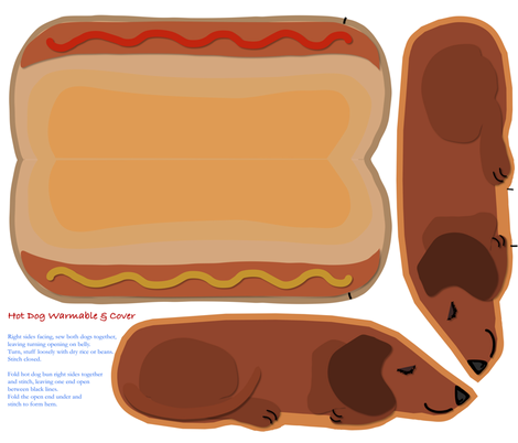 Microwavable Body Warmer HotDog fabric by eclectic_house on Spoonflower - custom fabric