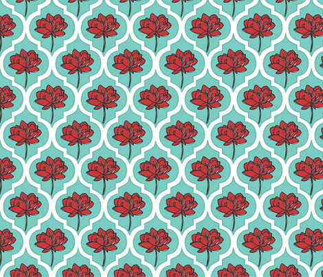 Aqua Peony fabric by abergen on Spoonflower - custom fabric