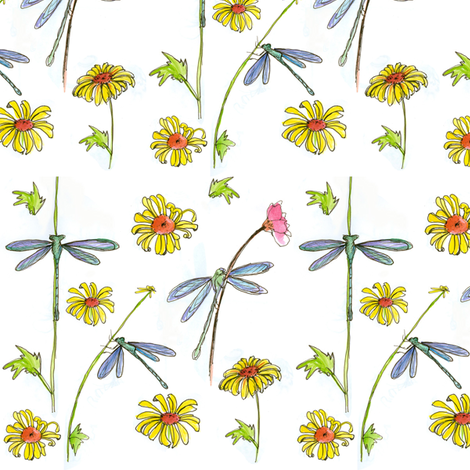 Blue Dragonflies fabric by countrygarden on Spoonflower - custom fabric