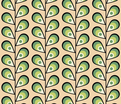 leavespeachandgreen fabric by mgterry on Spoonflower - custom fabric
