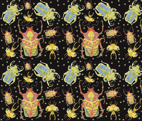 Beetles Rumble in the Dark  fabric by bad_penny on Spoonflower - custom fabric