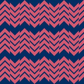 Abstract Chevron Navy/Coral