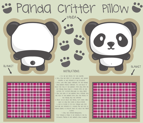 Panda bear critter pillow fabric by sawabona on Spoonflower - custom fabric