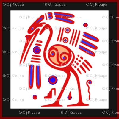 Tribal Heron (red)