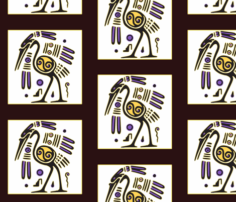 Tribal Heron (black) fabric by ravynscache on Spoonflower - custom fabric