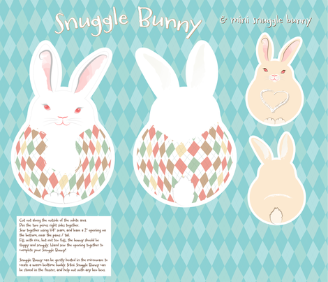 Snuggle Bunny Pattern fabric by dusty_pony_design on Spoonflower - custom fabric