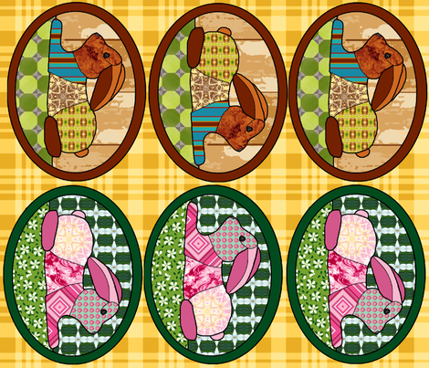 patchwork bunny pillow panels fabric by khowardquilts on Spoonflower - custom fabric