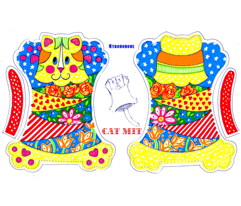 Cat_Mit-_Myboho_home fabric by mybohohome on Spoonflower - custom fabric