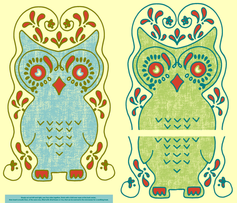 Owl Nice and Warm Critter Pillow Slipcover fabric by kdl on Spoonflower - custom fabric