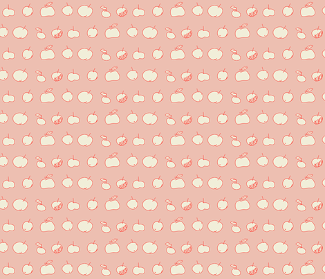 White Apples - A Fishy  Mystery Toile  coordinate-pink fabric by domoshar on Spoonflower - custom fabric