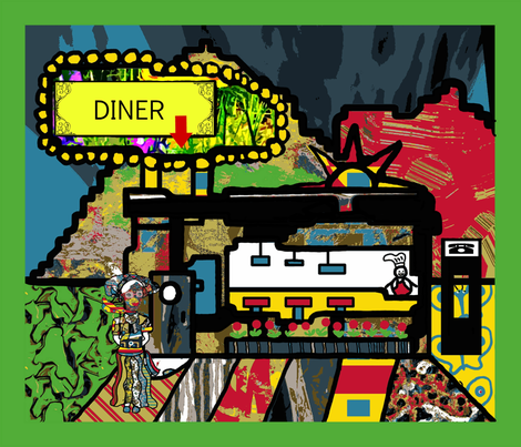 The Only Diner in Town (large scale repeat) fabric by anniedeb on Spoonflower - custom fabric