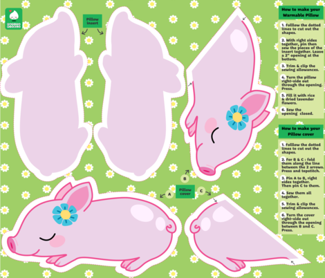 Kawaii piglet warmable pillow and cover fabric by petitspixels on Spoonflower - custom fabric