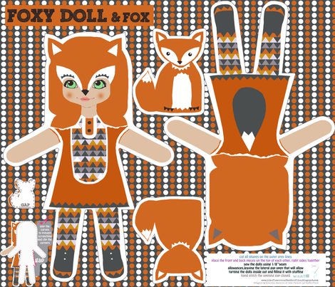 foxy girl doll and little fox cut and sew pattern fabric by katarina on Spoonflower - custom fabric