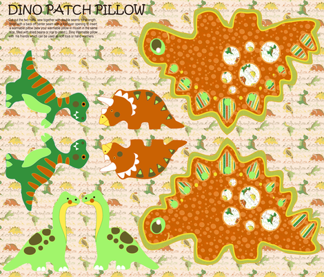 Dino patch pillow fabric by kirpa on Spoonflower - custom fabric