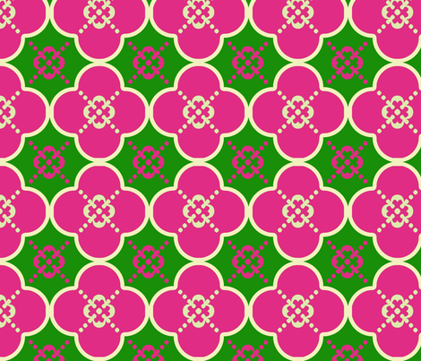 Clover6GreenandPink fabric by mgterry on Spoonflower - custom fabric