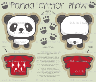Panda bear + jersey critter pillow