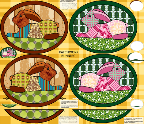 Patchwork_bunnies_pillow_covers fabric by khowardquilts on Spoonflower - custom fabric