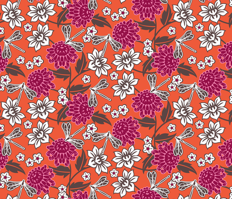 Japanese large floral orange fabric by cjldesigns on Spoonflower - custom fabric