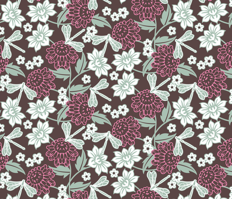 Japanese large floral dark fabric by cjldesigns on Spoonflower - custom fabric