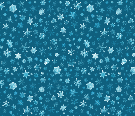 photographic snowflakes on cyan fabric by weavingmajor on Spoonflower - custom fabric