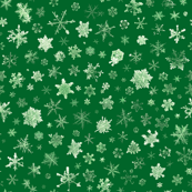 photographic snowflakes on green