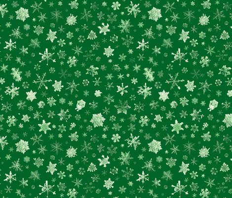 photographic snowflakes on green fabric by weavingmajor on Spoonflower - custom fabric