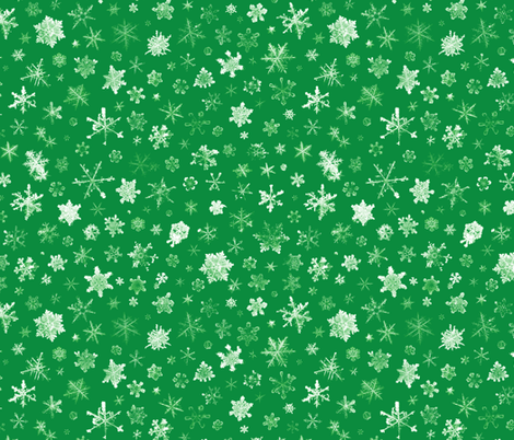 photographic snowflakes on Christmas green fabric by weavingmajor on Spoonflower - custom fabric
